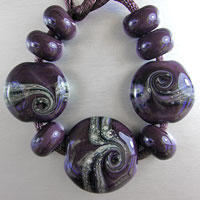 'THAI SURPRISE' - Purple Aubergine Glass Lampwork Bead Set +Spacers
