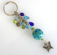 Turquoise Beaded Keyring with Lampwork Bead