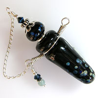 'MAGIC TEARS'   Sterling Silver Wired Lampwork Glass Vessel