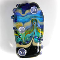 'SEASIDE' Blue, Black & Teal Lampwork Focal Glass Bead