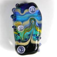 'SEASIDE' Blue, Black & Teal Lampwork Focal Glass Bead