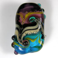 'MEANDERING' Blue & Plum Lampwork Focal Glass Bead