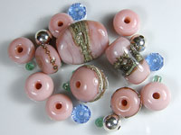 'CHAI'  - Pink Lampwork Glass Bead Set - Focals + Spacers