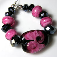 'PRETTY BABY' - Pink & Black Glass Lampwork Bead Set +Spacers