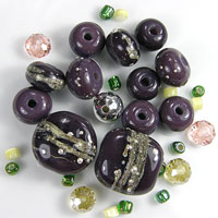 'EGGPLANT'  - Aubergine/Purple Lampwork Glass Bead Set - Focals and Spacers